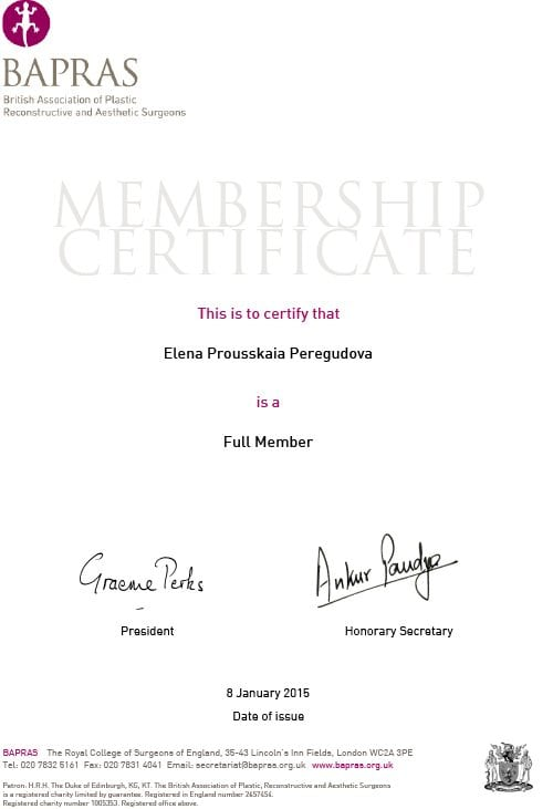 BAPRAS Certificate Prousskaia Peregudova